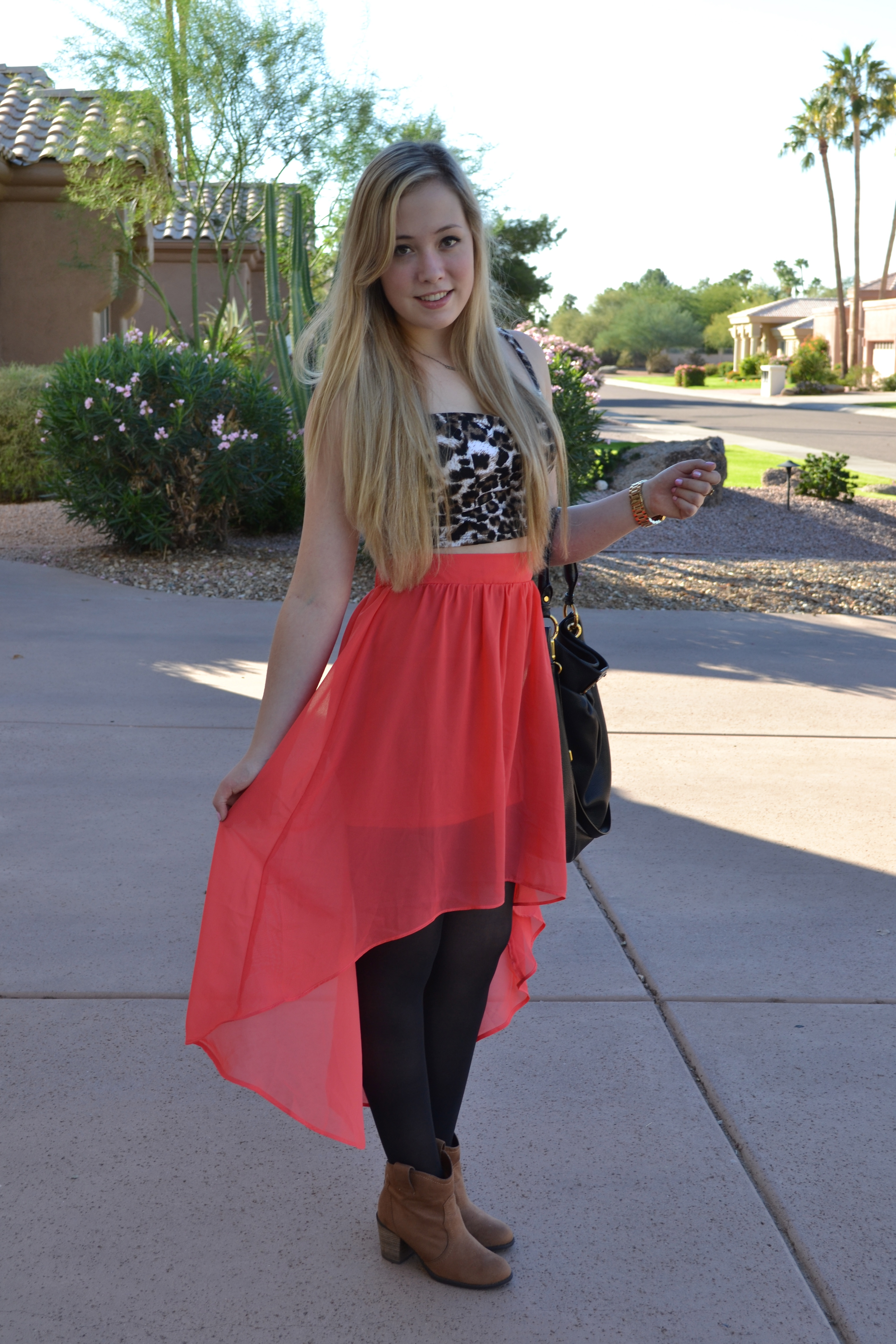 Outfit Of The Day: Leopard Print & High Low Skirt